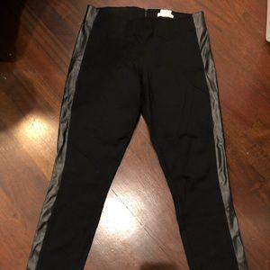 JCrew Gigi pant with faux leather stripe